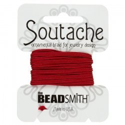 Beadsmith Soutache Rayon Cord (3mm Wide) Red - 3 yards