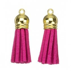 Suede Tassel Charms with Gold Cap Dark Pink 36mm PK2