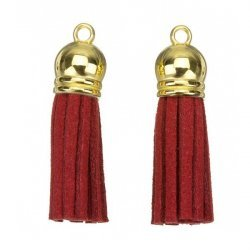 Suede Tassel Charms with Gold Cap Red 36mm PK2