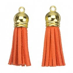 Suede Tassel Charms with Gold Cap Orange 36mm PK2