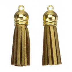 Suede Tassel Charms with Gold Cap Gold/Brown 36mm PK2