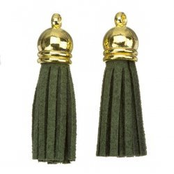 Suede Tassel Charms with Gold Cap Dark Green 36mm PK2