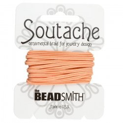 Beadsmith Soutache Polyester Cord 3mm Wide - Peach 3yd