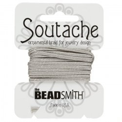 Beadsmith Soutache Rayon Cord 3mm Wide Silver Gray 3yd