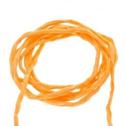 Silk Fabric Strings 2mm Hand Dyed Orange 1metre