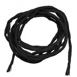 Silk Fabric Strings 2mm Hand Dyed Black 1metre