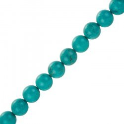 """Synthetic Blue Turquoise Round Beads 10mm 15.5"""" Strand"""