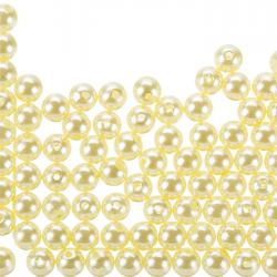 Acrylic Pearl Beads Round Shiny Cream 8mm - Pack of 100