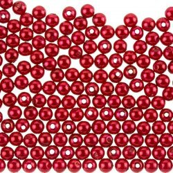 Acrylic Pearl Beads Round 6mm Shiny Deep Red Pack of 200