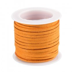 3x1.5mm Faux Suede Cord Flat Lace Orange 5 Metre Reel
