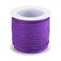 3mm Flat Faux Suede Lace Cord (Medium Orchid) 5m Reel