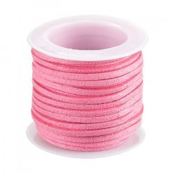 Faux Suede Flat Cord Lace (1.5x3mm) Pink 5 Metre Reel