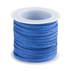 3mm Faux Suede Cord Flat Lace Cornflower Blue - 5m Reel