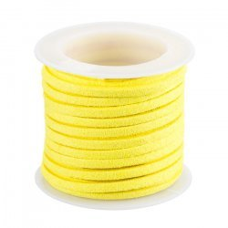 Faux Suede Cord Flat Lace (3x1.5mm) Yellow - 5mtr Reel