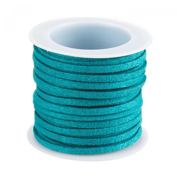 Faux Suede Flat Cord Lace (3x1.5mm) Teal – 5 Metre Reel