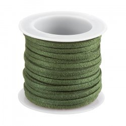3mm Faux Suede Flat Cord Lace Olive Green - On 5m Reel