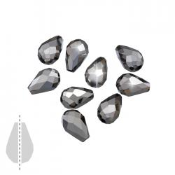 Crystal Glass Bead Metallic Chrome Faceted Drops 11x8mm