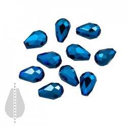 Crystal Glass Beads Metallic Blue Faceted Drops 11x8mm