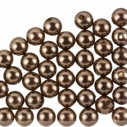 Acrylic ABS Pearl Beads Round - 10mm - Brown Pack of 50