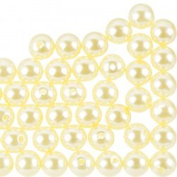 10mm Acrylic Pearl Beads Round ABS - Cream Pack of 50