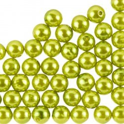 Round Acrylic Pearl Beads Olive Green 10mm – Pack of 50