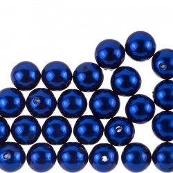 12mm Acrylic Pearl Beads Round ABS Midnight Blue - PK30