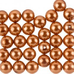 Acrylic Pearl Beads Round Copper Brown 12mm Pack of 30