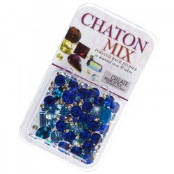 Chaton Mix Swarovski Crystal Rhinestones - Blues 4.5g