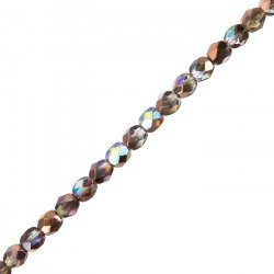 6mm Czech Fire Polished Beads Crystal Copper Rainbow 6