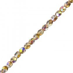 Crystal Brown Rainbow 6mm Czech Fire Polished Beads 6""