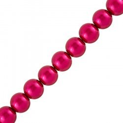 """Deep Pink Glass Pearl Beads Round (12mm) - 15.5"""" Strand"""