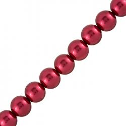 """12mm Round Pearl Beads Firebrick Red Sold on 16"""" Strand"""