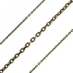 Antique Bronze Iron Cross 3x2mm Unfinished Chain 1 Metre