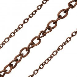 Red Copper Plated Iron Twist 5x4mm Unfinished Chain 1m