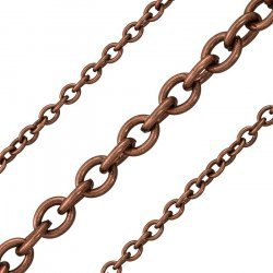 Antique Copper Plated Steel 5x6mm Unfinished Chain 1m