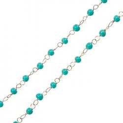 Rosary Style Chain With Turquoise Round Glass Beads 1m