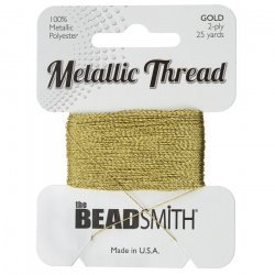Beadsmith Metallic Polyester Thread 2 ply Gold 25 yards