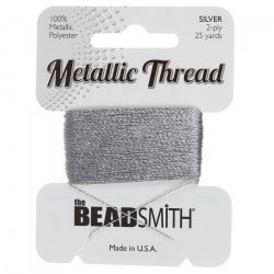 Beadsmith Metallic Polyester Thread 2 ply Silver 25 yards