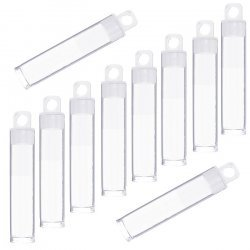 60mm Plastic Hangable Tubes Seed Bead Containers - PK10