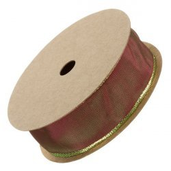 25mm Gold Lurex Edge Red Wired Ribbon Sold on 3m Reel