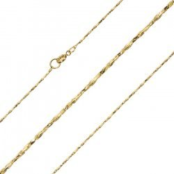 Gold Plated 1mm Twisted Beading Chain Necklace 18