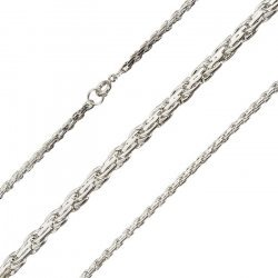 "Silver Plated Premium Weave Chain 18"" With Bolt Clasp"