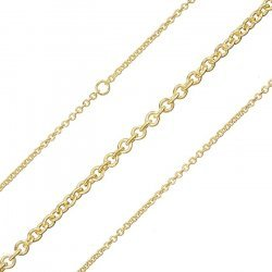 2mm Round Link Chain Gold Plated Steel 1 Metre Length