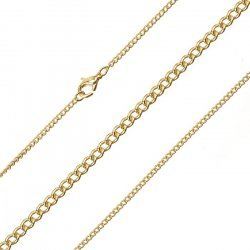 0.5mm Fine Curb Chain Finished 1.8mm Gold Plated 15.5""