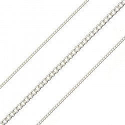 0.4mm Fine Curb Chain Unfinished 1.6mm Silver Plated 1m