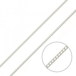 2mm Unfinished Curb Chain Silver Plated Steel 1 metre