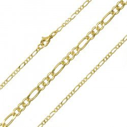 2mm Figaro Chain Necklace And Clasp Gold Plated 18 Inch