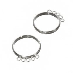 Adjustable Rings 18mm With 5 Loops Silver Plated - PK2