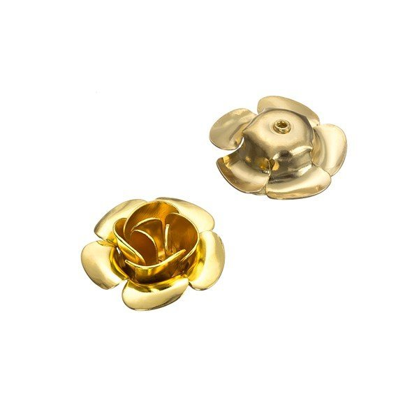Large Flower Shape Metal Spacer Beads Gold Plated 16mm