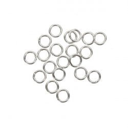 Small Jump Rings 4mm Silver Plated 0.7mm Thick - PK20